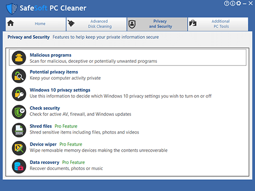 Safesoft pc cleaner