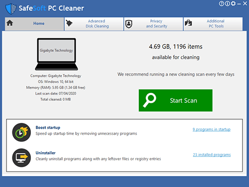 safesoft pc cleaner start scan